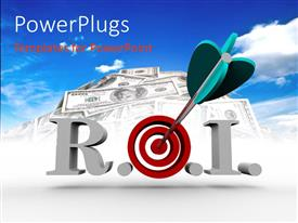 PowerPlugs: PowerPoint template with return On Investment with blue tailed dart stuck in bulls eye of target