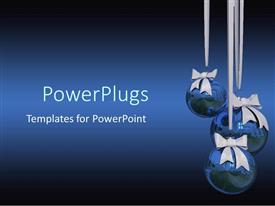 PowerPlugs: PowerPoint template with ribbons holding three blue shinning Christmas balls