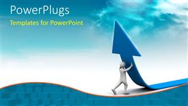 PowerPoint template displaying business growth depiction with 3D man lifting large blue arrow upwards