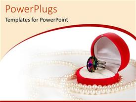 PowerPlugs: PowerPoint template with ring in red heart jewelry box with pearl necklace, shopping, retail, fashion, accessories