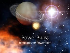 PowerPlugs: PowerPoint template with ringed planet Saturn with moon stars and sun outer space scene