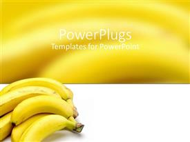 PowerPlugs: PowerPoint template with ripe bunch of bananas on white and yellow background