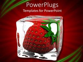 PowerPlugs: PowerPoint template with ripe red strawberry frozen in ice cube