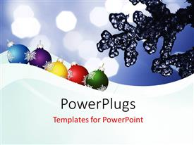 PowerPlugs: PowerPoint template with ripples of frozen ice with decorating ornaments