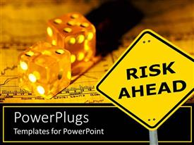 PowerPlugs: PowerPoint template with risk ahead signpost showing risk involved in entrepreneuship