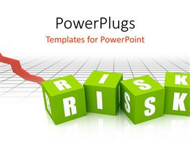 PowerPlugs: PowerPoint template with risk Blocks in green color with financial graph in background