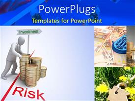 PowerPlugs: PowerPoint template with depiction of investment risk in business with 3D man and coin pile