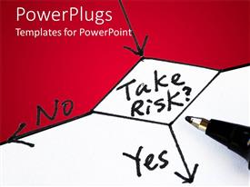 PowerPlugs: PowerPoint template with risk management concept with flow chart take risk question with black arrows to no and yes answers on white and red background