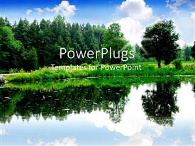 PowerPlugs: PowerPoint template with river with reflection of trees in it and background of blue sky with clouds