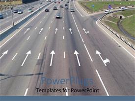 PowerPlugs: PowerPoint template with road with arrow marks, cars moving forward