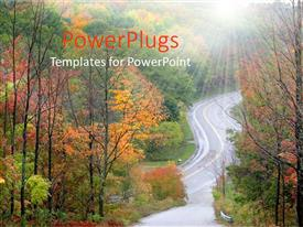 PowerPlugs: PowerPoint template with a road in between the forest