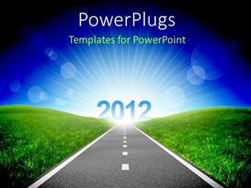 PowerPlugs: PowerPoint template with road between green grassland with year 2012 ahead