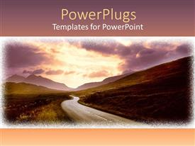 PowerPlugs: PowerPoint template with a road between the mountains with orange sky