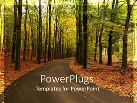 PowerPlugs: PowerPoint template with road curving through forest with fall autumn foliage