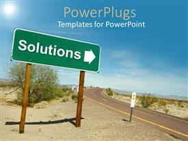 PowerPlugs: PowerPoint template with a road in the desert with solution sign pointing towards right