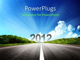 PowerPlugs: PowerPoint template with a road with the figure of 2012 and clouds in the background