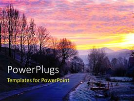 PowerPlugs: PowerPoint template with a road in the forest with a sunset in the background