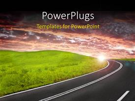 PowerPlugs: PowerPoint template with a road going through a city with a lot of greenery