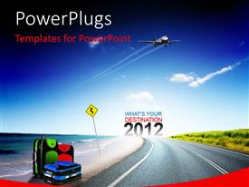 PowerPlugs: PowerPoint template with a road going towards the new year with bluish background