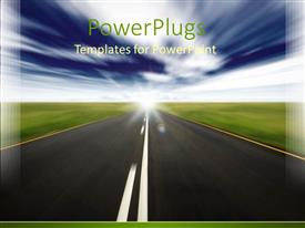 PowerPlugs: PowerPoint template with road grass plains cloudy sky blue and green background