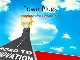 PowerPlugs: PowerPoint template with road to Innovation leading upward to a light bulb representing imagination, creativity and idea