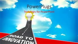 PowerPoint template displaying road to Innovation leading upward to a light bulb representing imagination, creativity and idea