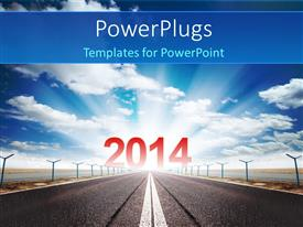 PowerPlugs: PowerPoint template with a road with a lot of clouds in background