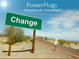 PowerPlugs: PowerPoint template with a road in the middle of the desert with a change sign