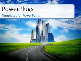 PowerPlugs: PowerPoint template with road to modern city surrounded by nature landscape