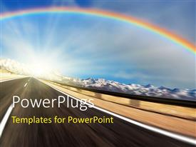 PowerPlugs: PowerPoint template with a rainbow with a lot of clouds in the background