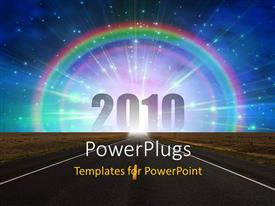 PowerPlugs: PowerPoint template with road to new year 2010 , with rainbow and bright sky