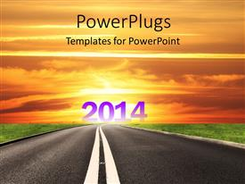PowerPlugs: PowerPoint template with a road with the new year 2014 at the end