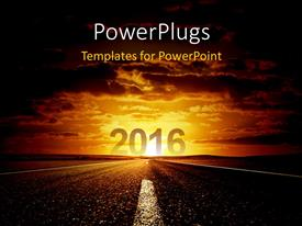 PowerPlugs: PowerPoint template with road to new year 2016 with beautiful sky in the background