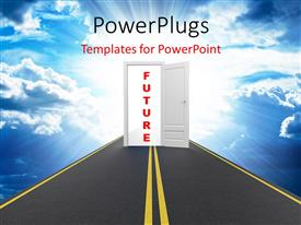 PowerPlugs: PowerPoint template with road to open door leading to the FUTURE over cloudy sky