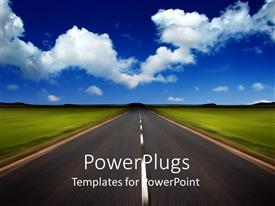 PowerPlugs: PowerPoint template with a road in the outskirts with clouds in the background