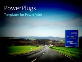 PowerPlugs: PowerPoint template with a road passing through the city with a lot of greenery
