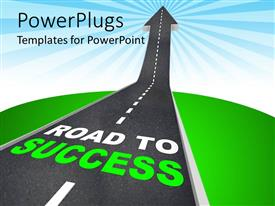PowerPlugs: PowerPoint template with road patterned arrow going up to the sky, with road to success words printed on it