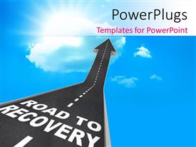 PowerPlugs: PowerPoint template with a road pointing towards recovery with clouds in the background