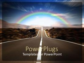 PowerPoint template displaying a road with a rainbow in the background