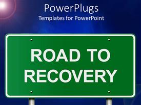 PowerPlugs: PowerPoint template with road to recovery road sign with sunny blue background