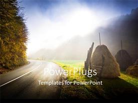 PowerPoint template displaying a road side view with trees and a shinning bright light