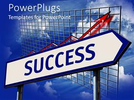 PowerPlugs: PowerPoint template with road sign with blue success word on white background and diagram chart with rising red arrow on blue sky background
