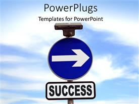 PowerPlugs: PowerPoint template with road sign with direction to SUCCESS over cloudy sky