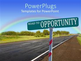 PowerPlugs: PowerPoint template with a road sign indicating road to opportunity