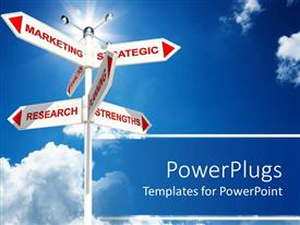 PowerPlugs: PowerPoint template with a road sign with marketing strategic research strengths planning pointing in every direction