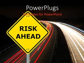PowerPlugs: PowerPoint template with a road with the sign of risk and blackish background
