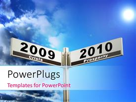PowerPlugs: PowerPoint template with road sign showing path to crisis and prosperity with sky overhead