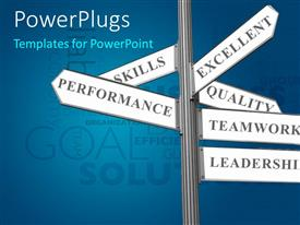 PowerPlugs: PowerPoint template with road sign with successful business ingredients over blue background