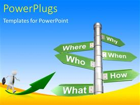PowerPlugs: PowerPoint template with road sign with various questions - where, who, why, when, how and what