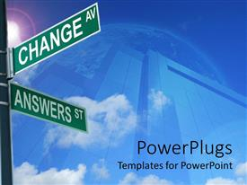 PowerPlugs: PowerPoint template with road signs with direction to CHANGE AV and ANSWERS ST